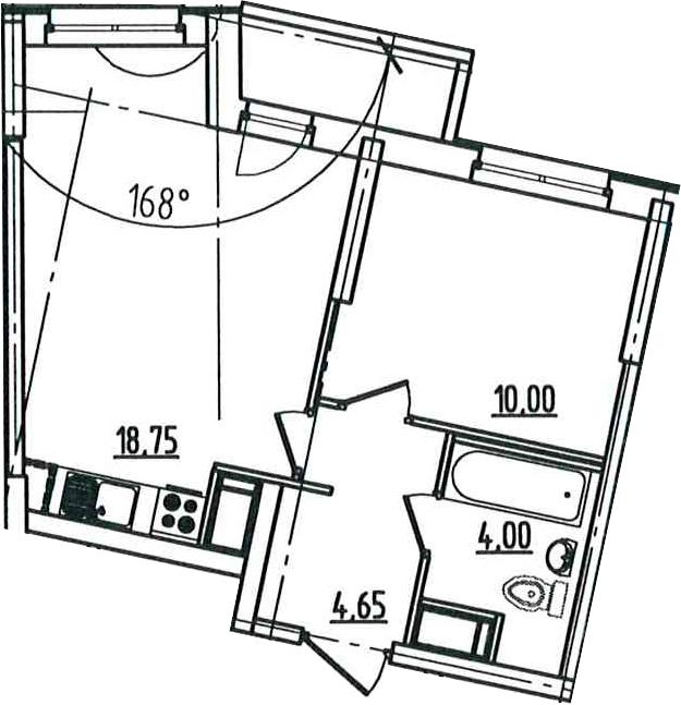2Е-к.кв, 38.7 м², 5 этаж