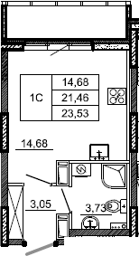 Студия, 23.53 м²– 2