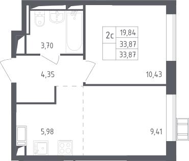 2-к.кв (евро), 33.87 м²