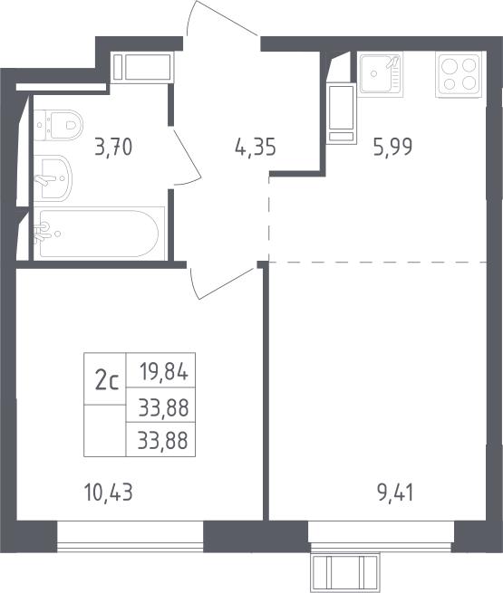 2Е-к.кв, 33.88 м², 11 этаж