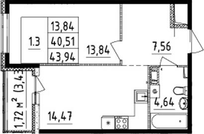2Е-комнатная, 40.51 м²– 2