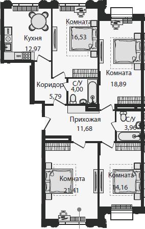 4-к.кв, 109.93 м²