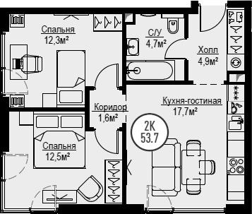 3Е-к.кв, 53.7 м², 29 этаж