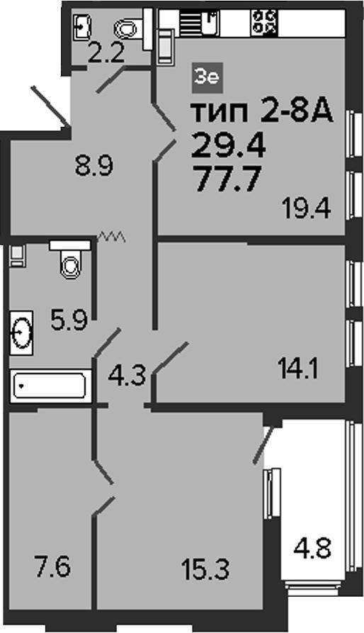 3Е-к.кв, 77.7 м², 8 этаж