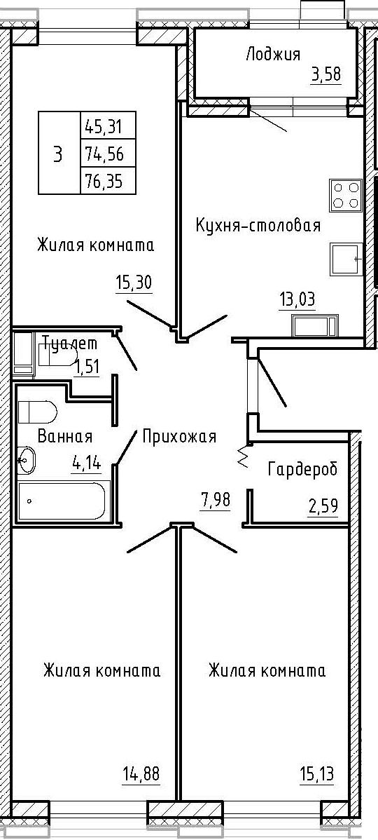 3-к.кв, 78.14 м²