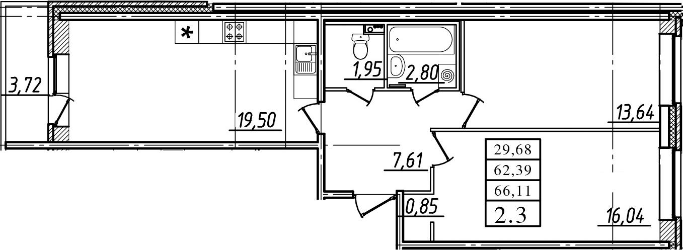 3Е-комнатная, 62.39 м²– 2