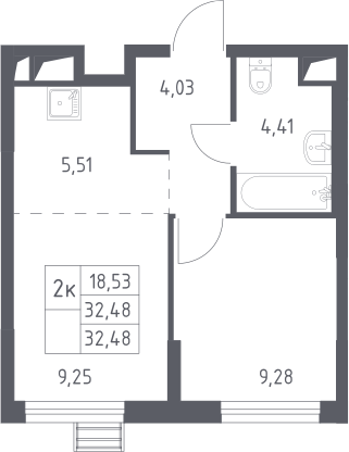 2Е-к.кв, 32.48 м²