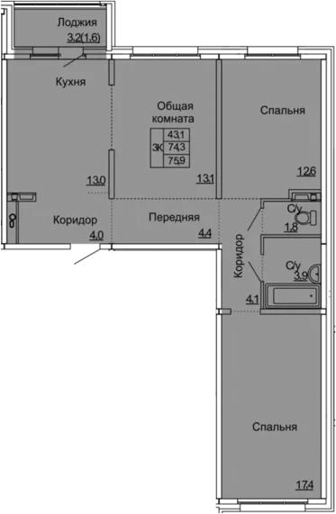 3-к.кв, 75.9 м²