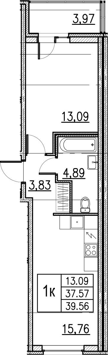2Е-комнатная, 39.56 м²– 2