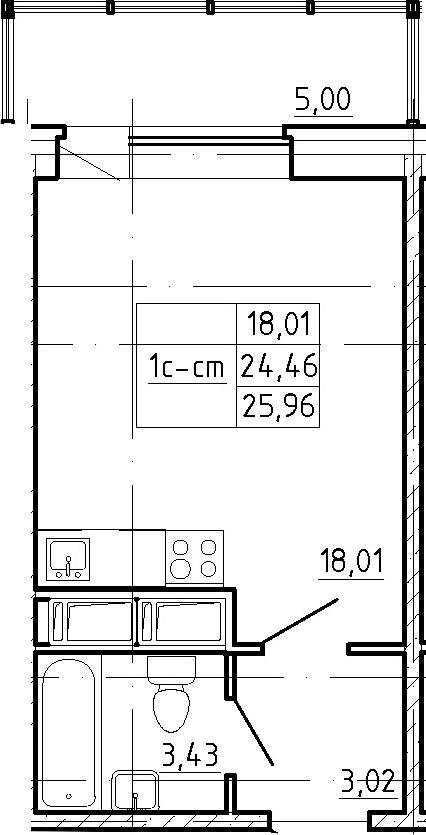 Студия, 29.46 м²