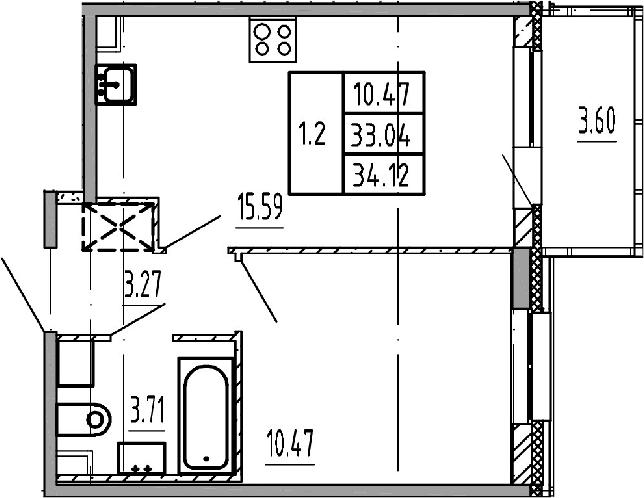 2Е-к.кв, 33.04 м²