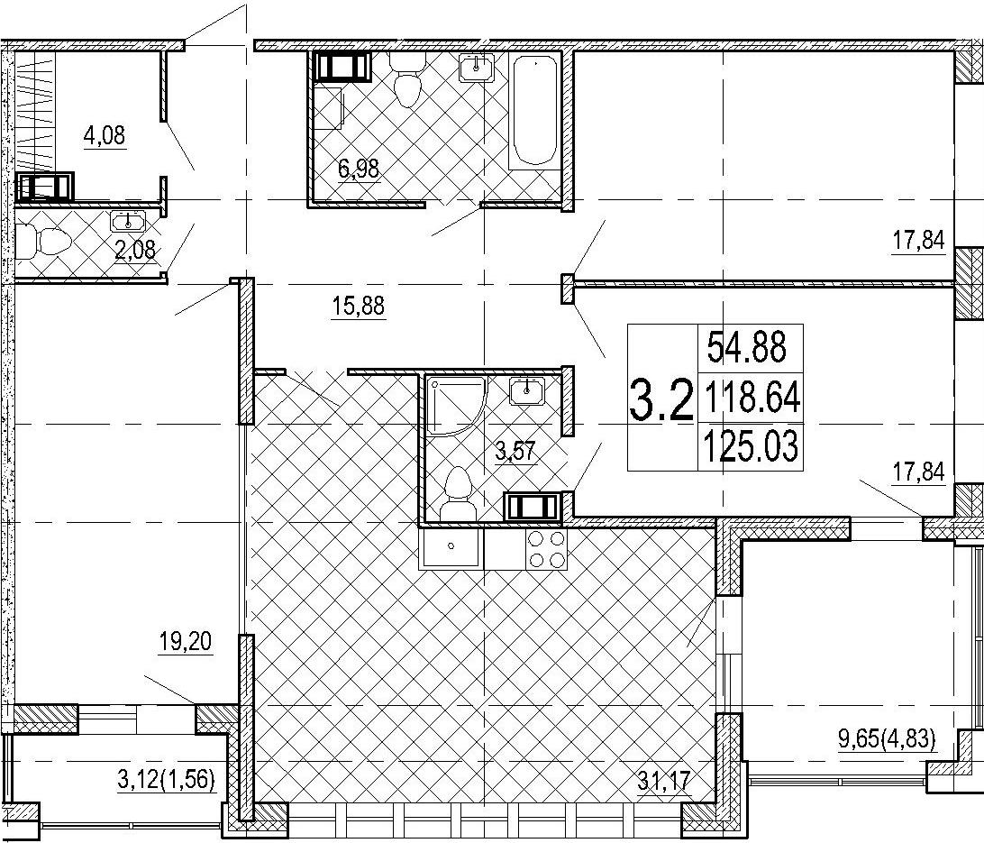 4Е-к.кв, 125.03 м², 2 этаж