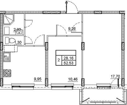 2-комнатная, 52.53 м²– 2