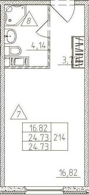Студия, 24.73 м²
