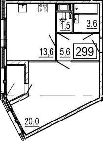 1-к.кв, 45.7 м², 6 этаж