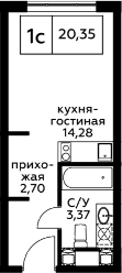 Студия, 20.35 м², 9 этаж