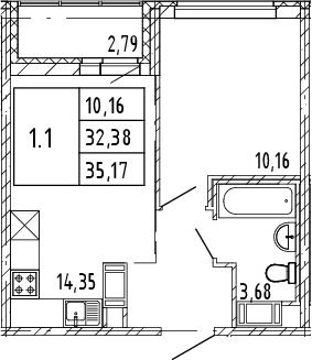 2Е-к.кв, 32.38 м², от 3 этажа