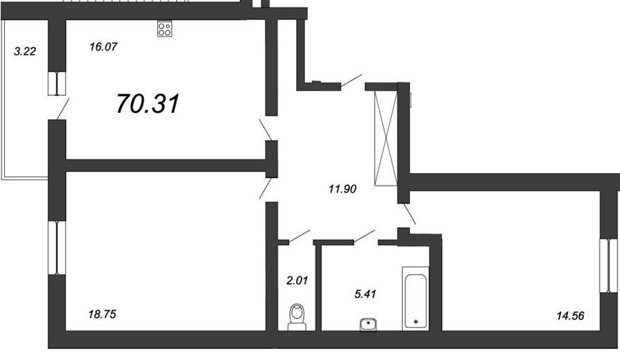 2-к.кв, 71.92 м²
