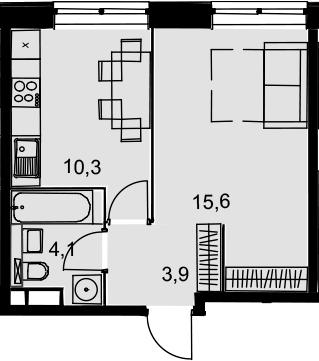 1-к.кв, 33.9 м², 6 этаж