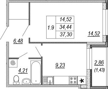 1-к.кв, 34.44 м², 2 этаж