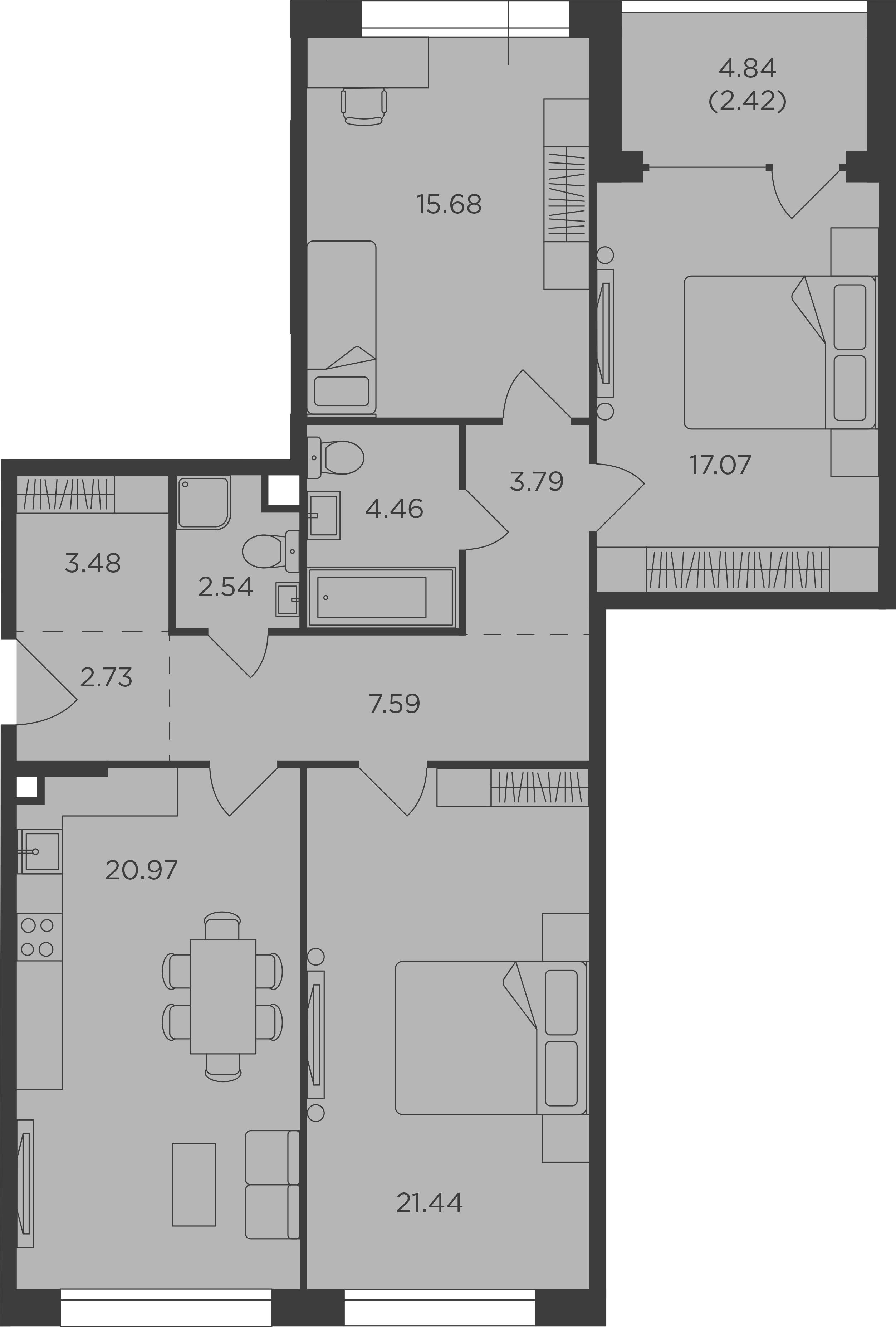 3-комнатная, 102.17 м²– 2