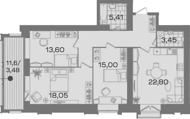 3-к.кв, 96.73 м²