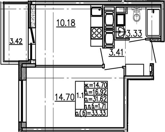 1-к.кв, 31.62 м²