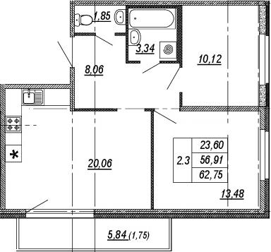 3Е-к.кв, 56.91 м², от 2 этажа