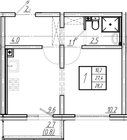 2Е-к.кв, 28.2 м², от 2 этажа
