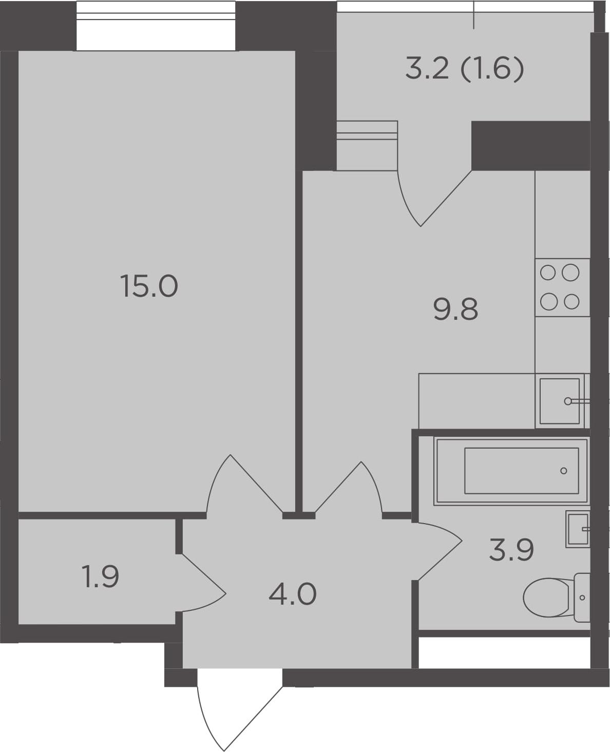 1-к.кв, 36.2 м², 9 этаж