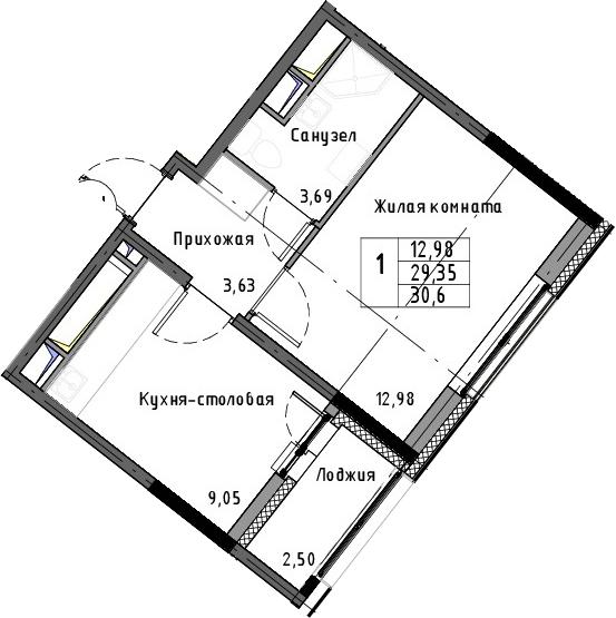 1-к.кв, 30.6 м²