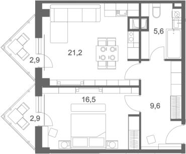 2-к.кв (евро), 73.84 м²