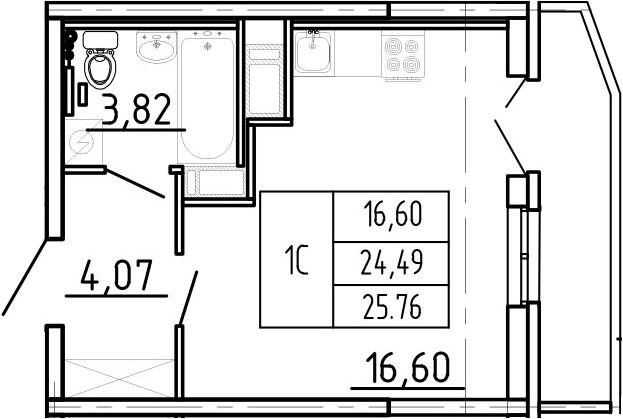 Студия, 28.72 м²