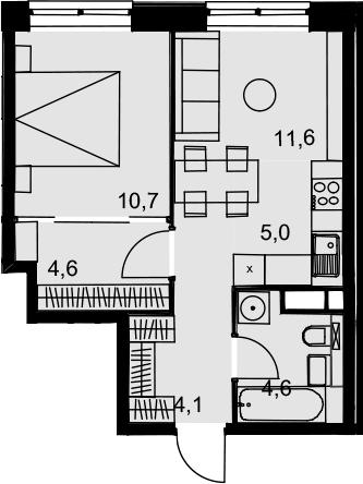 2Е-к.кв, 40.6 м²