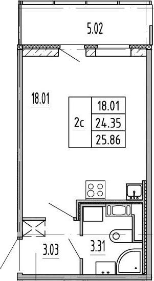 Студия, 24.3 м², 2 этаж