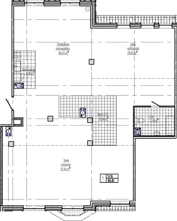Свободная планировка, 184.85 м²– 2