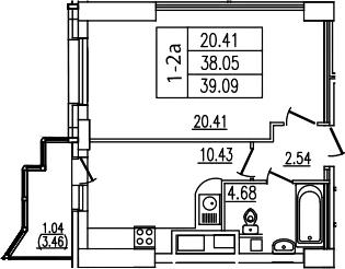 1-комнатная, 39.09 м²– 2