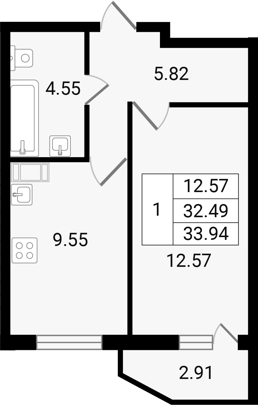 1-к.кв, 35.39 м²