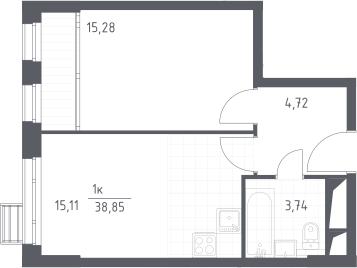 2Е-комнатная, 38.85 м²– 2