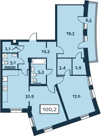 3Е-комнатная, 100.21 м²– 2