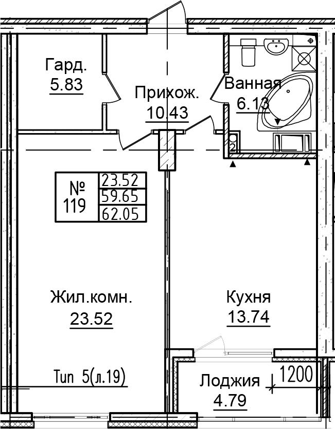 1-к.кв, 64.44 м²
