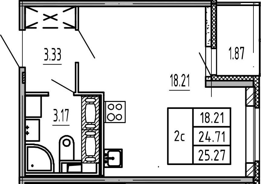 Студия, 24.71 м², 17 этаж