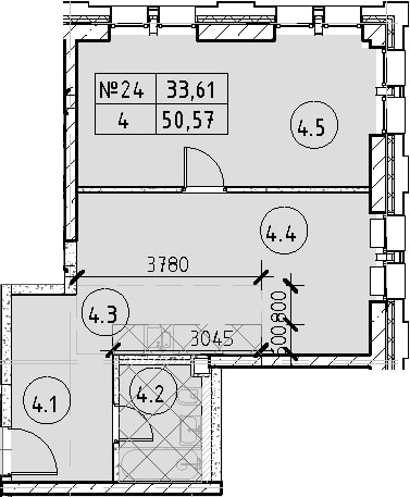 2Е-к.кв, 50.57 м²