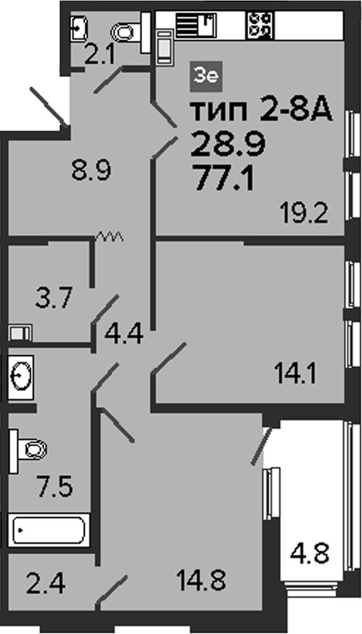 3Е-комнатная, 77.1 м²– 2