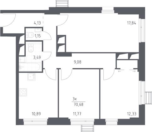 3-к.кв, 70.68 м²