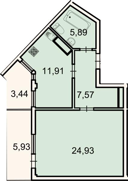 1-комнатная, 53.1 м²– 2