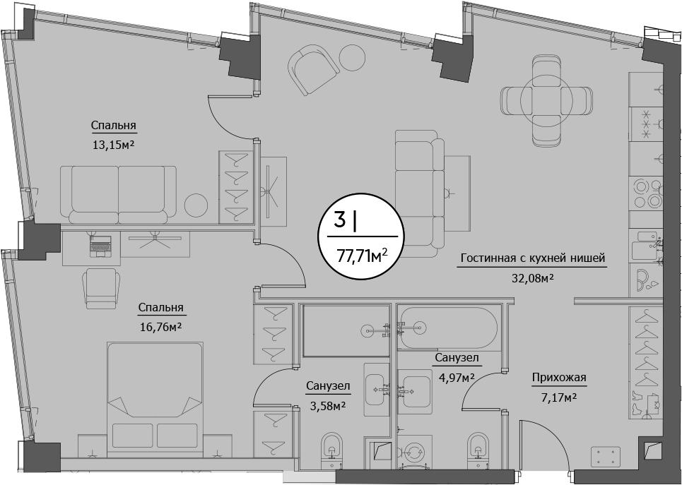 3Е-комнатная, 77.71 м²– 2