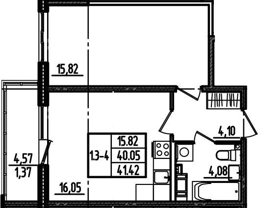 2Е-к.кв, 41.42 м², 2 этаж