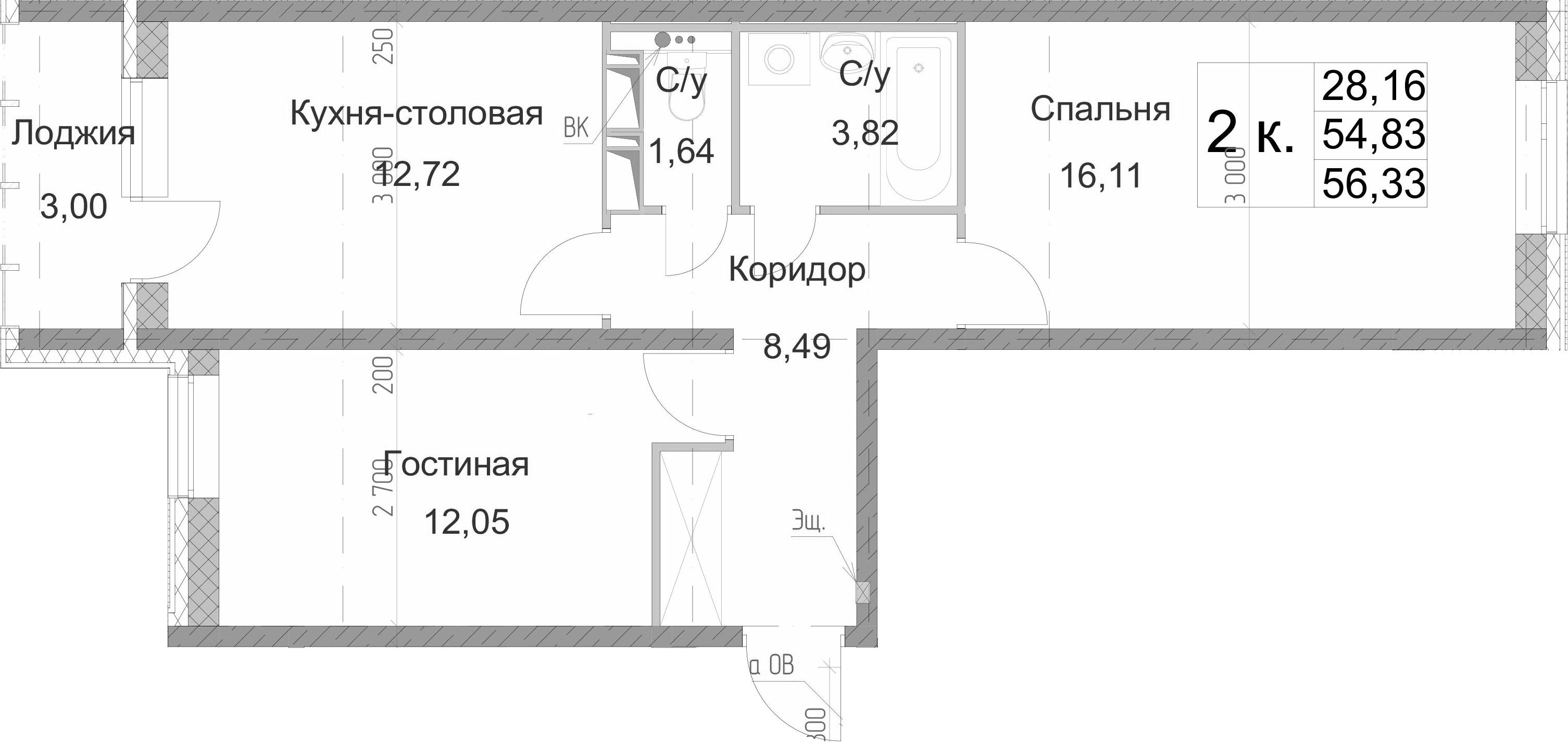 2-к.кв, 56.33 м²