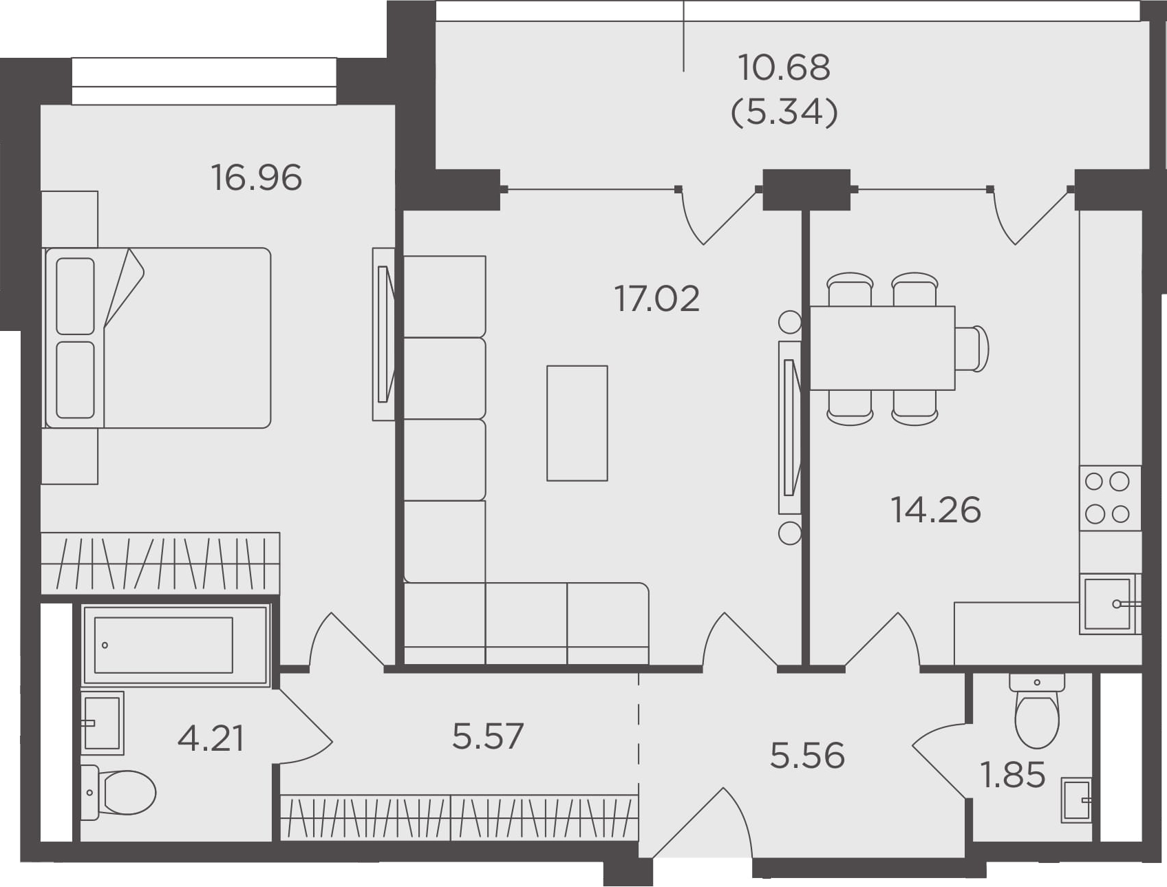 2-комнатная, 70.77 м²– 2